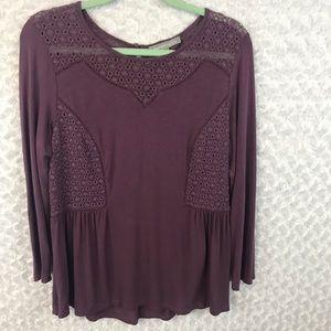 Daniel Rainn Purple Button Back Crochet Top